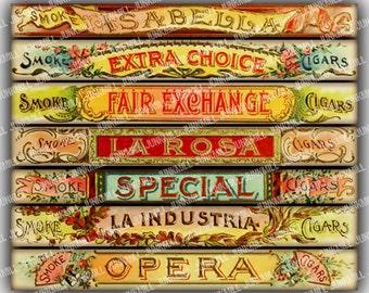 CIGAR BANDS - Digital Printable Collage Sheet - Vintage Cigar Labels, Antique Tobacco Ephemera, Victorian Scrap, Instant Digital Download
