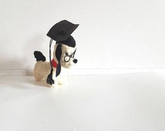 Vintage Graduation Stuffed Dog