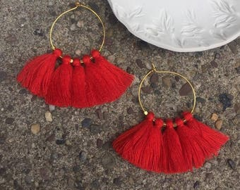 Boho Summer Earrings Bright Scarlet Red Tassel Fringe & Gold Plated Hoop Urban