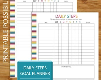 Goal Planning Checklist - Daily Steps - Goal Tracker