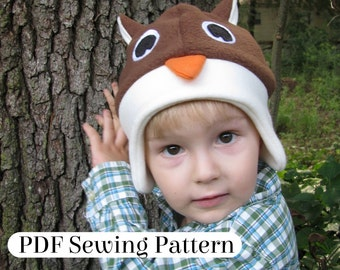 Fleece Owl Hat - PDF Sewing Pattern - Woodland Animal Costume