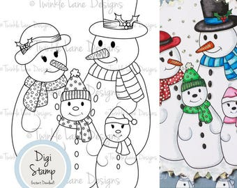 Snow Family, Digi Stamp, Snowman, Family Digital Stamp, Winter Scene, Festive Clipart, Printable, Holiday Clipart, Adult Colour Page, Crafts