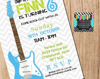 Boy ROCKSTAR party invite  - YOU PrInT