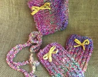 Newborn Hand Knit Bonnet and Leggings Set, Newborn Photography Prop, Ready To Ship, Baby Bonnet, Baby Leggings, Ready To Ship, CLEARANCE