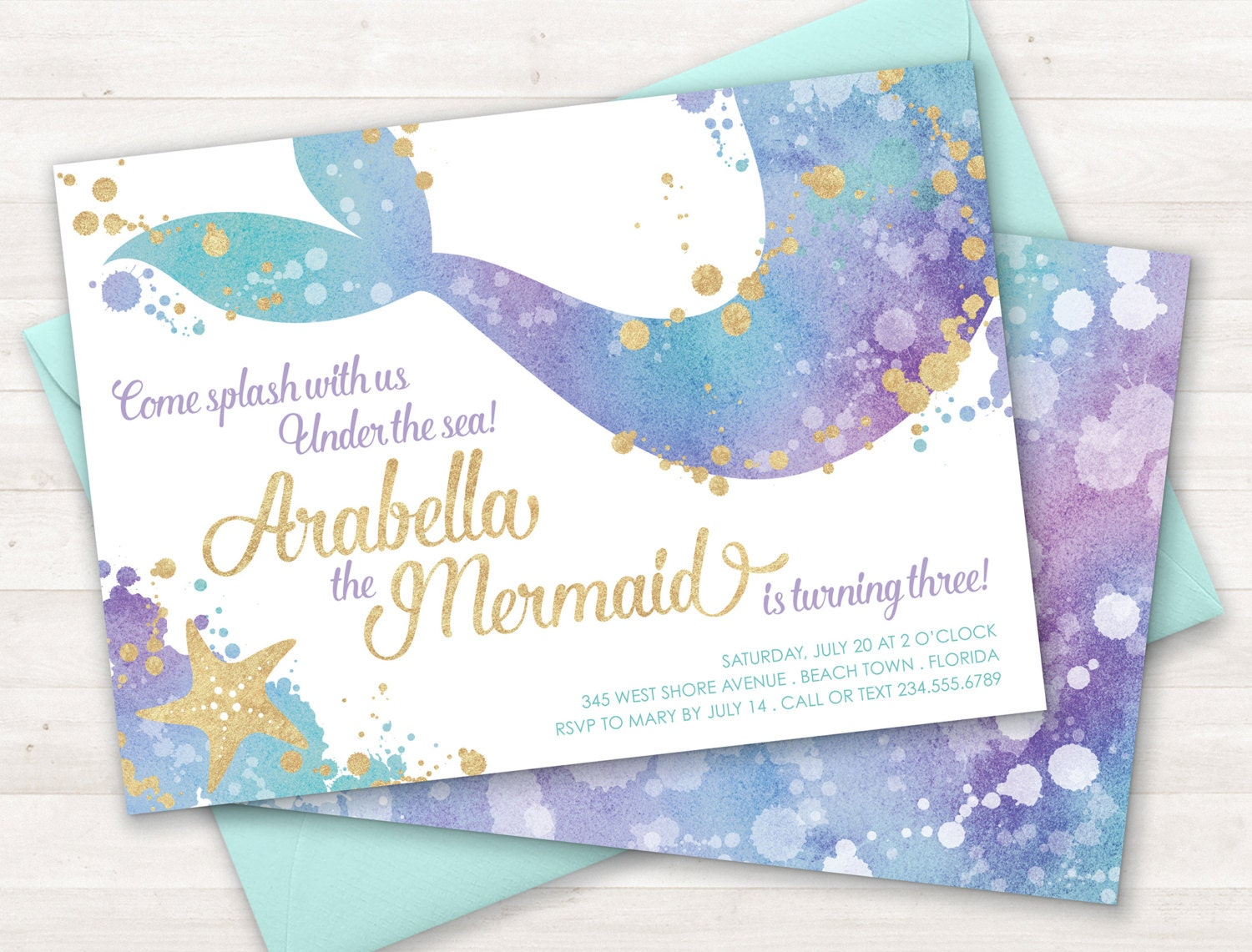 Mermaid Invitation Mermaid Party Invite Under the Sea Party