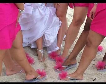 Bridesmaid Flip Flops with Letter Charms. Bridal Flip Flops