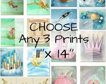 Make your own SET of 3 Art Prints 11''x14'' ,Baby Nursery, Kids Room Decor, Nursery Decor, Art for Children