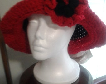crochet black and red hat