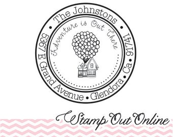 Custom UP Inspired return address rubber stamp self inking and round