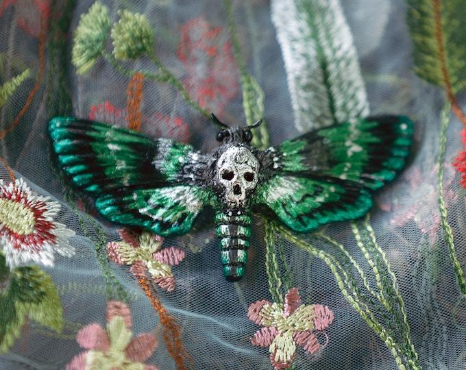Skull Owl brooch-green/Silver