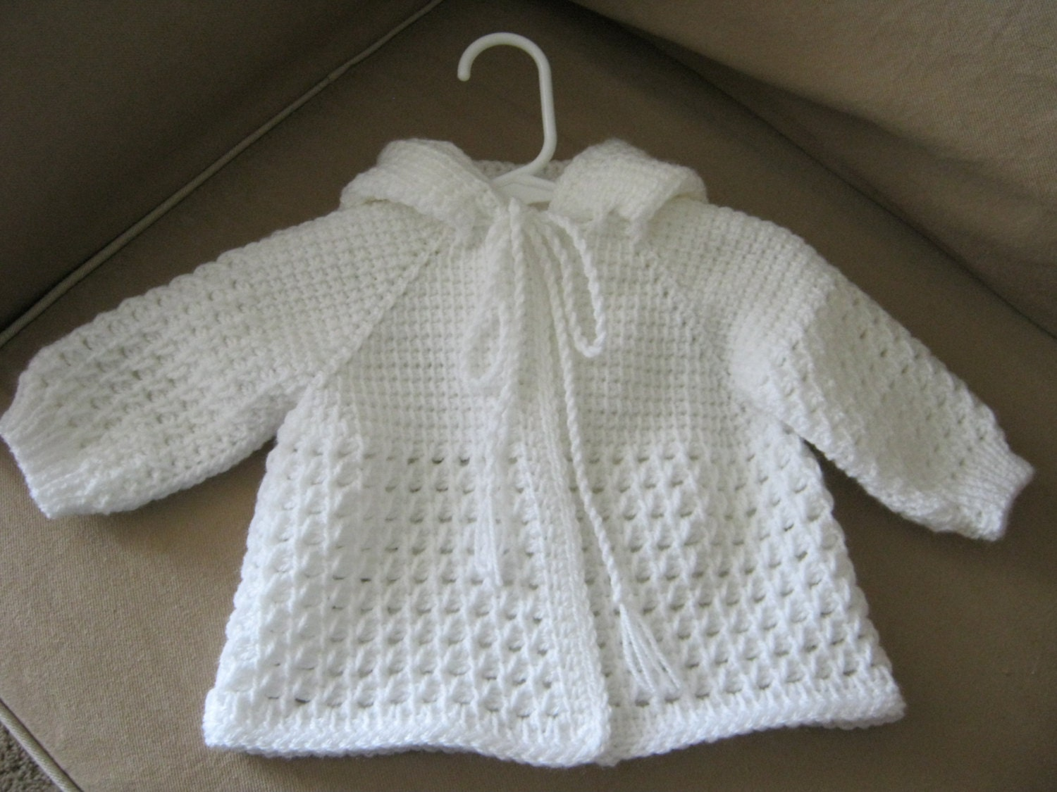 White crochet baby sweater with hood for boy or girl zoom bankloansurffo Image collections