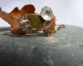 Autumn Leaves Stacking Rings:  Handmade Sterling Silver, Copper and Brass