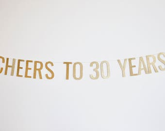 Cheers to 30 Years Banner - Anniversary Party Banner, Birthday Banner, 30th Birthday Party Decor, 30th Anniversary, Birthday Party Decor