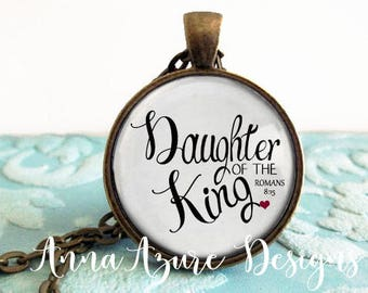 Daughter of the King Romans 8:15 keychain key ring necklace Christian Necklace Jewelry her pendant Bible jewelry bible necklace
