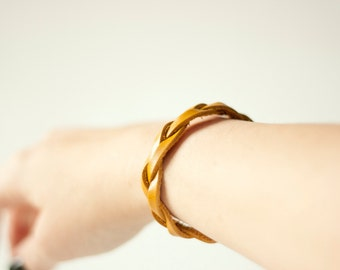 Braided Leather Bracelet / Mustard / Bliss