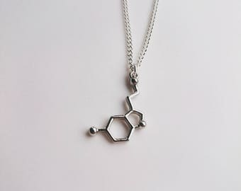 Serotonin Molecule Necklace Silver Tone, Science Themed Accessory, Molecular Structure Necklace, Geeky Present, Psychology Themed Gift