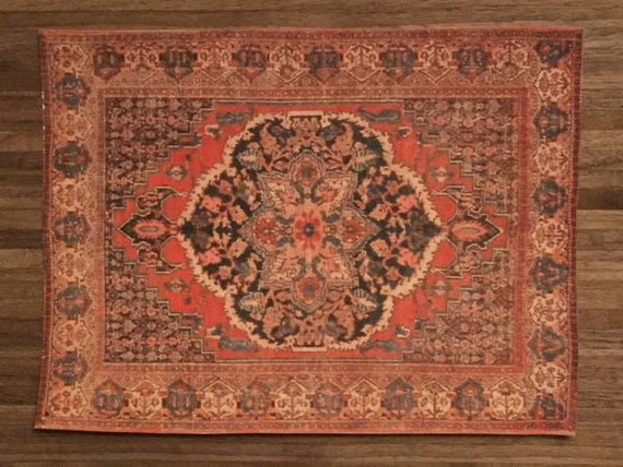 Dollhouse Miniature Room Size Rug, Turkish Delight, Scale One Inch