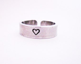 Heart Ring, adjustable ring, hand stamped jewelry, aluminium ring, handstamped jewellery, custom ring, personalized ring, silver, handmade