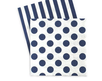 Napkins | Navy and White Stripe Napkins | Navy and White Polka Dots Napkins | Reversible | Premium Quality Paper Napkins | The Party Darling