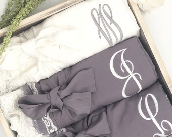 Bridesmaid Robes, Bridal Robes, Bridesmaid Gifts, Wedding Robes, Custom Lace Cotton Robes, Personalized Robes, Monograms, Getting Ready Robe