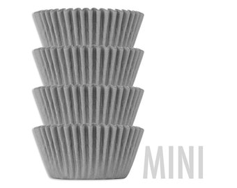 Mini Solid Gray Shimmer Baking Cups - 50 solid grey mini paper cupcake liners