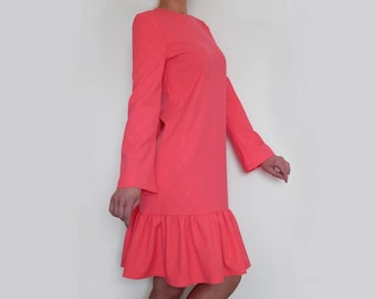 Hot pink dress ruffle dress party dress long sleeve dress midi dress