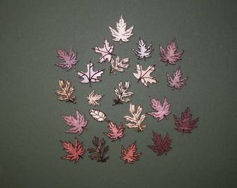 FREE SHIPPING 40 leaf laser cut wood cutouts scrapbook craft embellishments multi color