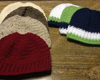 Crochet messy bun hats