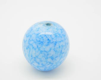 marbled blue round beads 26mm (l807)