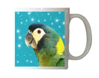 Yellow-collared Macaw Parrot Stars Blue Background White 11oz Ceramic Coffee Mug