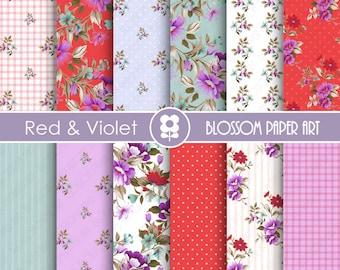 Floral Papers, Red Purple Floral Digital Paper, Violet, Red, Light Blue Floral Scrapbooking Paper - INSTANT DOWNLOAD  - 1895