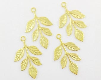 Gold Leaves, Brass Leaf Stamping, Laurel Leaf, Embellishment, 23mm x 37mm - 4 pcs. (gd175)