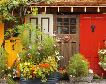 Rustic Door Photography - Old Vintage Doors, Elora, Shabby Chic, Red, Yellow, Barn, Canada