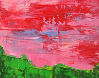 Pink & Green Landscape Painting Print. Pink Sky Wall Art Print Decor. Wall Art Print. Gift for Her. 94