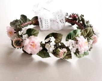 Pink Flower Crown, Bridal Flower Crown, Flower Crown, Spring Wedding, Floral Headpiece, Head Wreath, Pink Wedding, Bridal Hairpiece