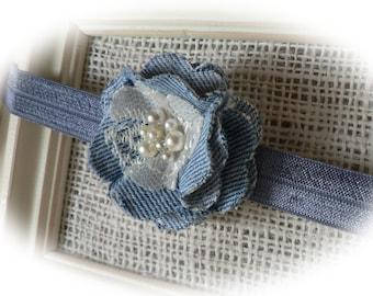 Denim, Lace & Pearl Headband . . Photo Prop/Baby/Toddler/Girl/Adult Headband