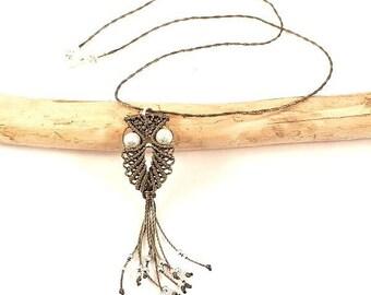 Micro khaki macrame OWL necklace