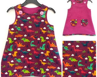 Girl's Dinosaur Dress, Dino Dress, Dinosaur Clothing, Girl's Reversible Dress, T rex, Girls Clothing, Play Dress, Dinosaur Gift, Dino Gift