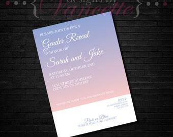 Gradient Gender Reveal Invite, Gender Reveal Invite, Gender Reveal Invitation, Gender Reveal Shower Invite, Gender Revel Invite