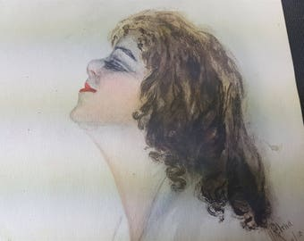 Vintage Watercolor Painting of a Lady on Paper Original Art Signed and Dated 1915