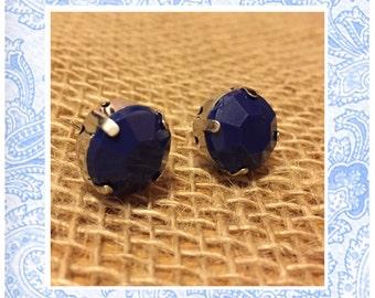 Navy Blue Jewel Stud Earrings - Dark Blue Studs - Navy Matte Jewel Earrings - Jewel Studs - Navy Blue Earrings - Silver Jewel Studs