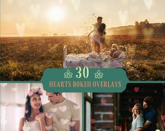 30 Heart Bokeh Photoshop Overlays, Valentine Overlays Hearts, Romantic, Wedding Overlays, Love Overlay, Digital  Backdrop, Texture Overlay