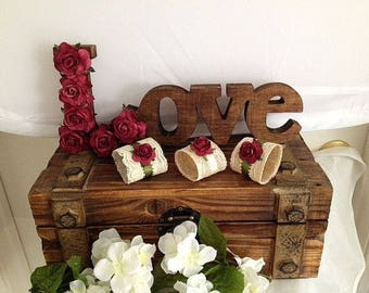 Burgundy Wedding Table Signs - Centerpiece - Guest Table Decorations for Rustic, Beach and Barn Weddings - Love Signs