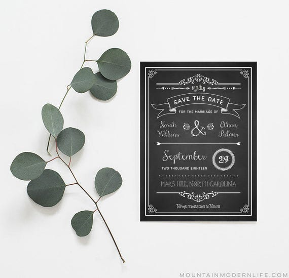 DIY Chalkboard Save the Date Template