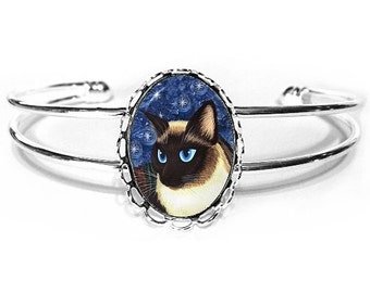 Siamese Cat Bracelet Seal Point Siamese Cat Silver Fantasy Cat Art Cameo Bracelet 25x18mm Gift for Cat Lovers Jewelry
