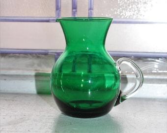 Vintage Emerald Green Small Pitcher Creamer Blown Glass