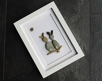 Pebble Art - Bunnies in 6x8 Slim White Frame with White Mat - modern art, child's room art, small space wall art, rabbit lover, bunny lover
