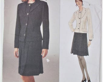 Lined Jacket Collar Bias Flaps Two Piece Sleeves Straight Lined Skirt Size 12 14 16 Sewing Pattern Bill Blass Vogue 1988