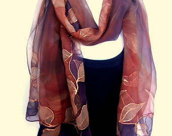 Hand Painted Silk Scarf, Leaves, Copper Brown Chocolate, Silk Chiffon Scarf