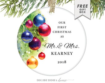 Our First Married Gift for Newlywed Couple Christmas Ornament Our First Married Christmas Married Ornament Wedding Christmas First Year Gift